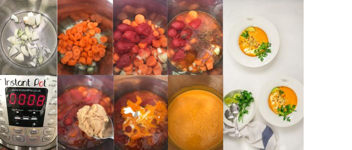 how to make african peanut, carrot, tomato soup in an instant pot with step by step recipe