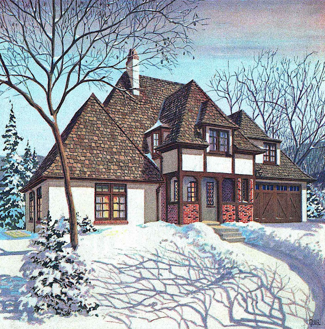 a 1925 home exterior in a color illustration at winter