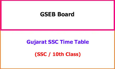 Gujarat SSC Exam Time Table 2020