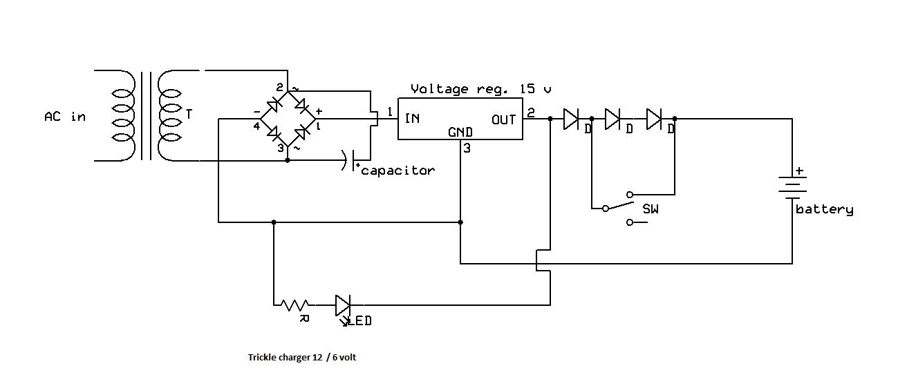 trickle charger 12 volt or 6 volt  schematic