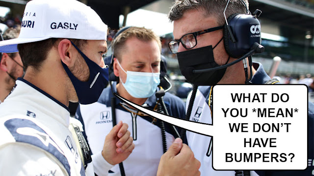 """Pierre Gasly saying """"what do you MEAN we don't have bumpers?"""""""