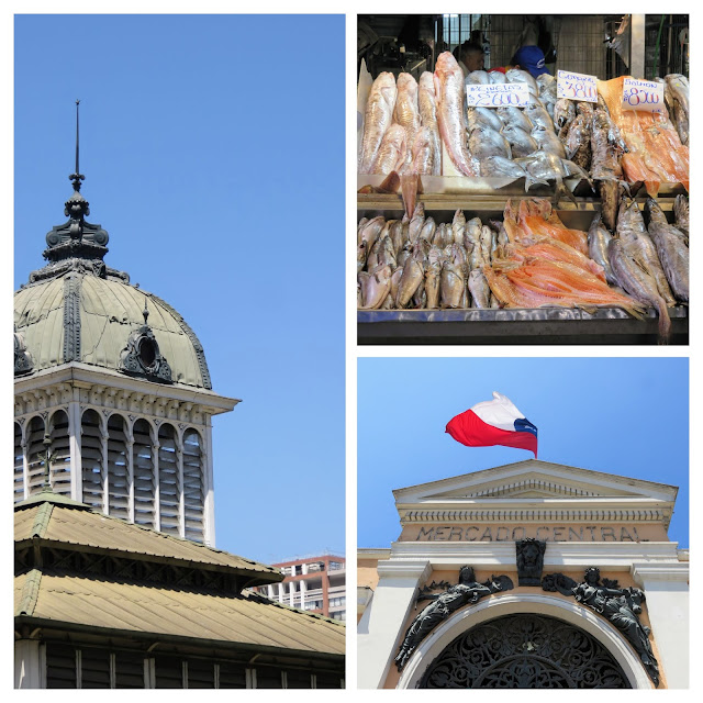 Why visit Santiago Chile: collage of the facade of Mercado Central and fish inside