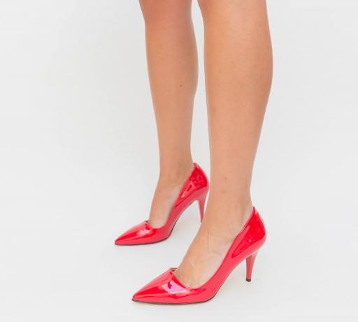 Pantofi Claus Rosii piele lacuita cu toc