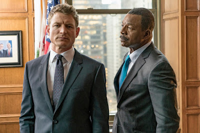 Philip Winchester and Carl Weathers in Chicago Justice