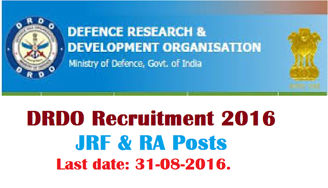 DEFENCE RESEARCH AND DEVELOPMENT ORGANISATION (DRDO) KANCHANBAGH|RESEARCH FELLOWSHIP IN DRDO|DRDO Recruitment 2016 – JRF & RA Posts|DMRL Jobs 2016 – Jr Research Fellow& RA Posts|DEFENCE METALLURGICAL RESEARCH LABORATORY (DMRL) GOVERNMENT OF INDIA, MINISTRY OF DEFENCE/2016/08/defence-research-and-development-organisation-DRDO-kanchnanbagh-research-fellowship-jrf-ra-dmrl-defence-metallurgical-research-laboratory-ministry-of-defence.html
