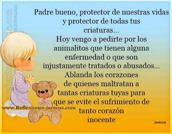 Oración por los animales✅Padre, protector de nuestras vidas y de todas tus criaturas. Hoy vengo a pedirte por los animalitos que tienen alguna enfermedad.