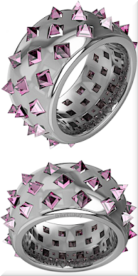♦Armoura Fibonacci platinium rings with 42 clear brilliant cut pink diamonds #jewelry #armoura #brilliantluxury