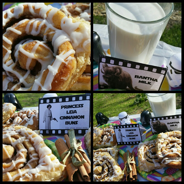Princess Leia Cinnamon Buns Recipe with Bantha Milk  Free Printable Food Labels Below