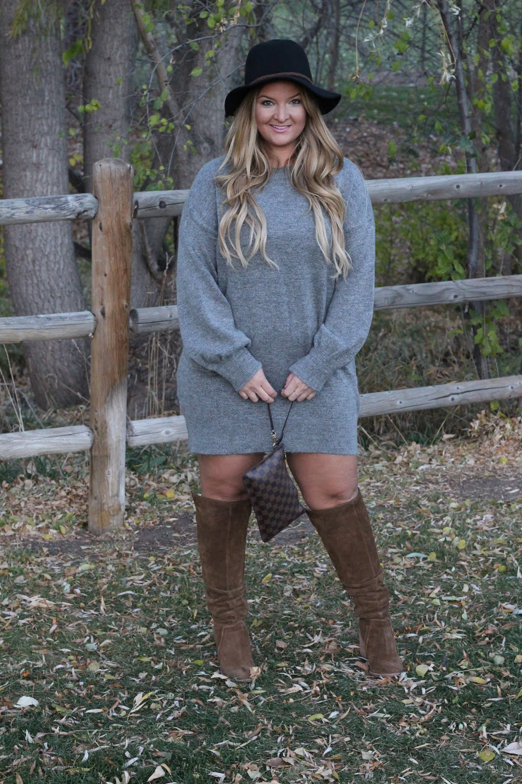 Grey Sweater Dress and Brown OTK Boots by Denver fashion blogger Delayna Denaye