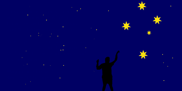 The image contains a silhouette of a boy reaching out into the night sky towards the southern cross stars