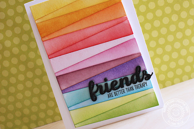 Sunny Studio Stamps: Sun Ray Dies Rainbow Background Card by Eloise Blue
