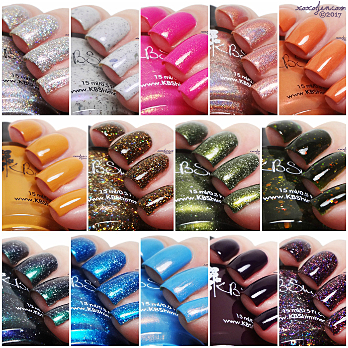 xoxoJen's swatch collage of KBShimmer Fall Collection