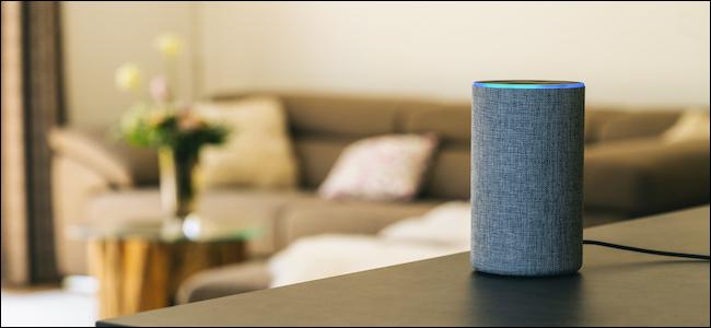 مكبر صوت Amazon Echo الذكي في غرفة المعيشة