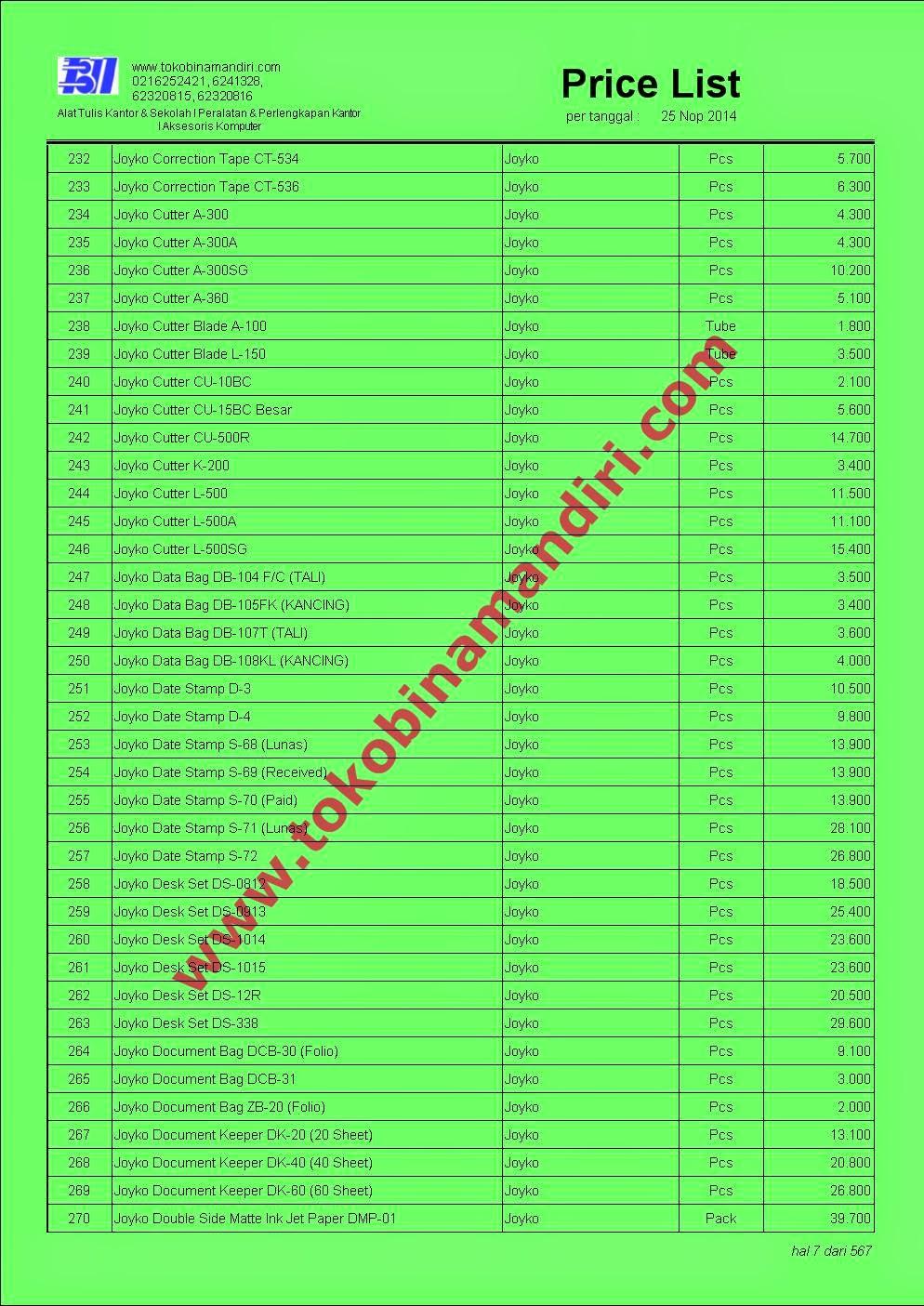 Daftar Harga Alat Tulis Kantor Merek Joyko