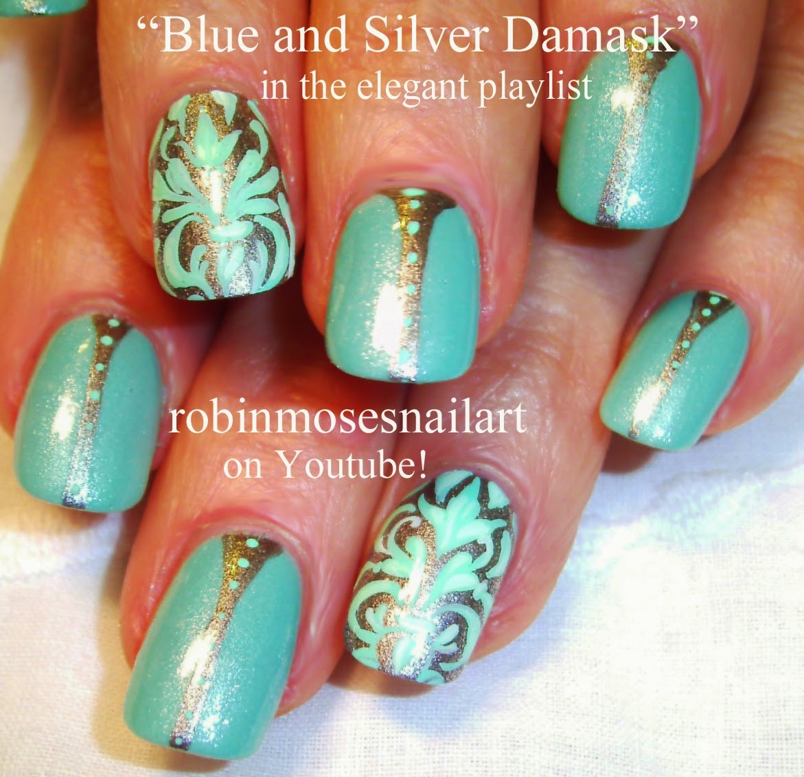 Nail Art By Robin Moses Damask Nails Damask Nail Art Royal