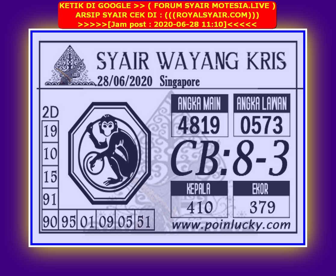 Kode syair Singapore Minggu 28 Juni 2020 161