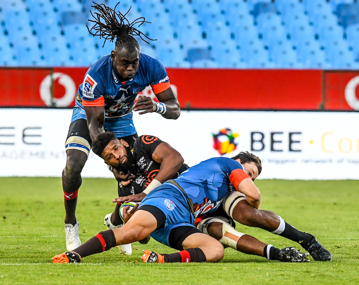 Hyron Andrews of the Cell C Sharks is tackled