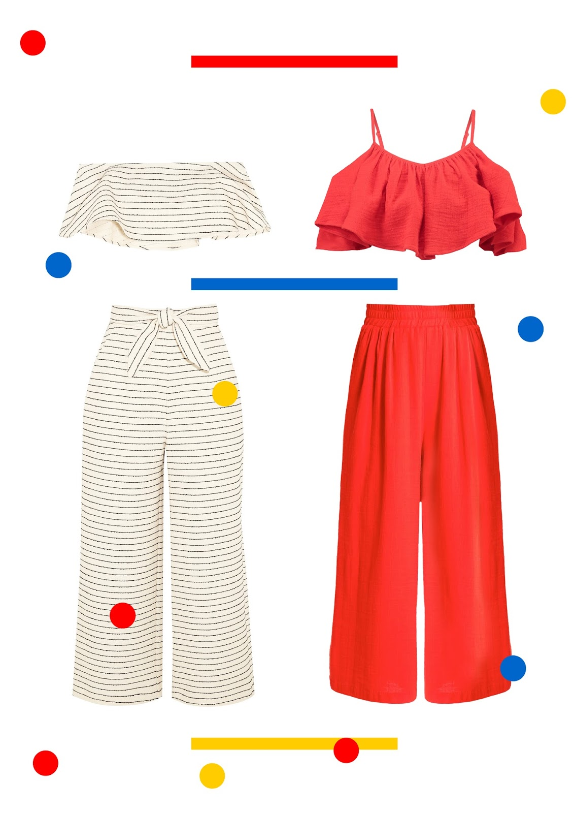 mara hoffman, ss17, summer, colourful, stripes, red, bandeau top, wide leg trousers, primary colours,