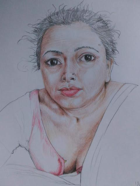 Colour pencil women art