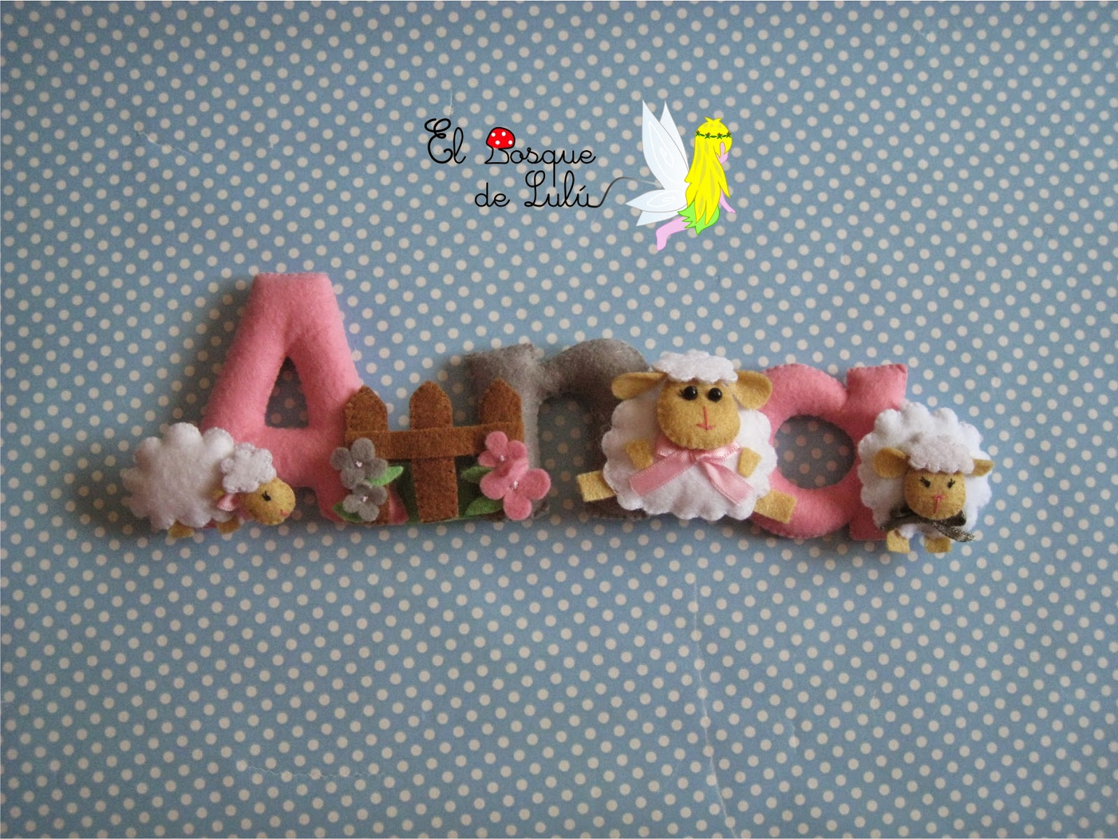 nombre-decorativo-en-fieltro-de-fieltro-Ana-name-banner-felt-ovejas-flores