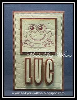 """Een klein kaartje voor Luc. """"Luc"""" met schaduw en een gestempelde kikker. A small card for Luc. """"Luc"""" with shadow and a stamped frog."""