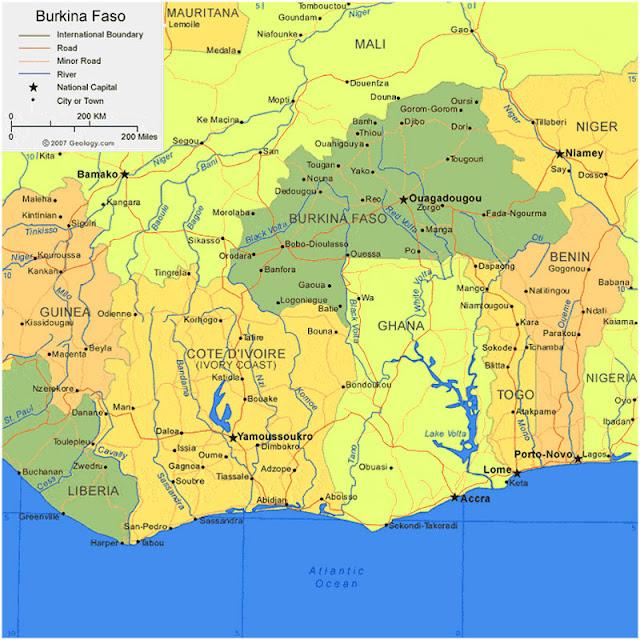 Gambar Peta Wilayah Negara Burkina Faso HD
