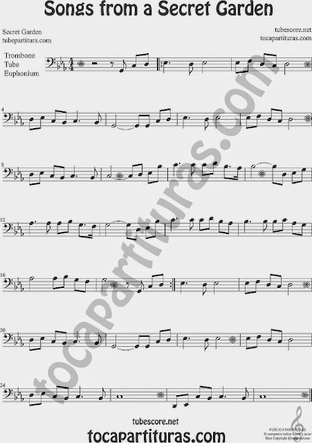 Songs from a Secret Garden Partitura de Trombón, Tuba Elicón y Bombardino Sheet Music for Trombone, Tube, Euphonium Music Scores