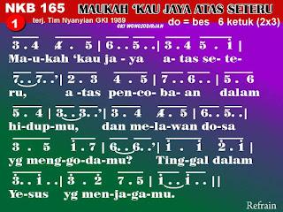 Lirik dan Not NKB 165 Maukah 'Kau Jaya Atas Seteru