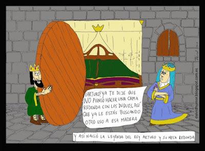 Meme de humor sobre el rey Arturo y la Mesa Redonda