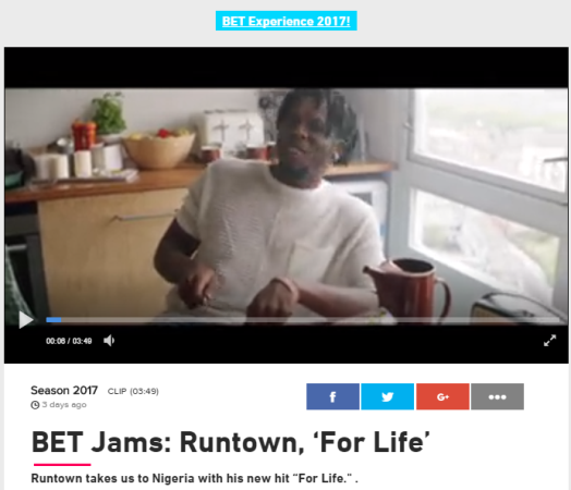 Runtown's new song 'For Life' goes global; makes it to BET Jams