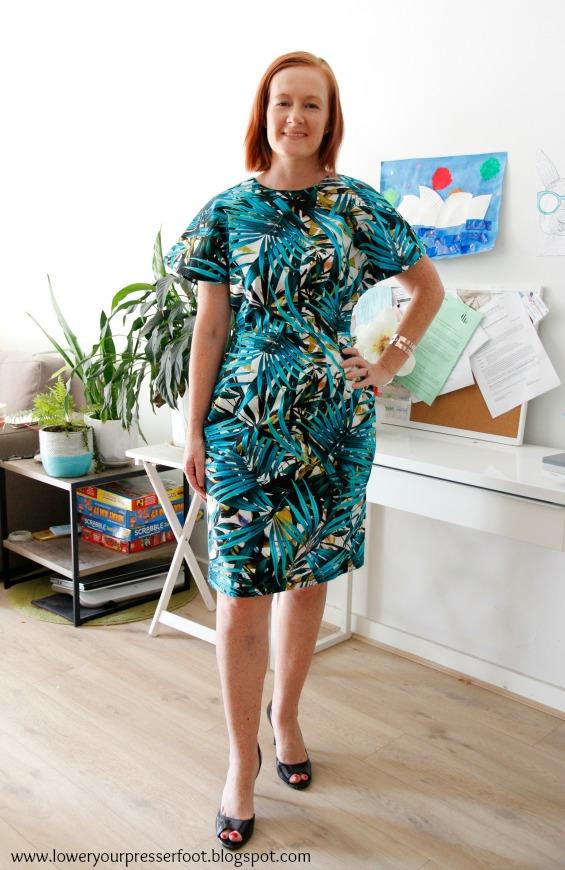 palm print batwing dress