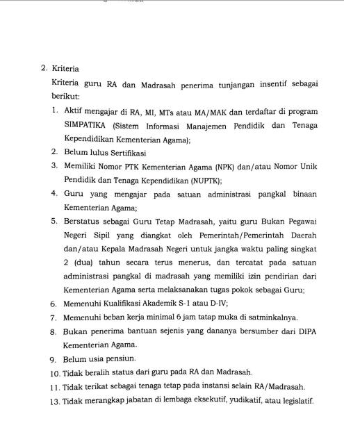 Kriteria Penerima Tunjangan Insentif Guru Bukan PNS Madrasah 2020