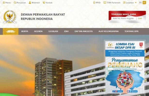 Website DPR diretas seiring meningkatnya penolakan terhadap pengesahan UU Cipta kerja