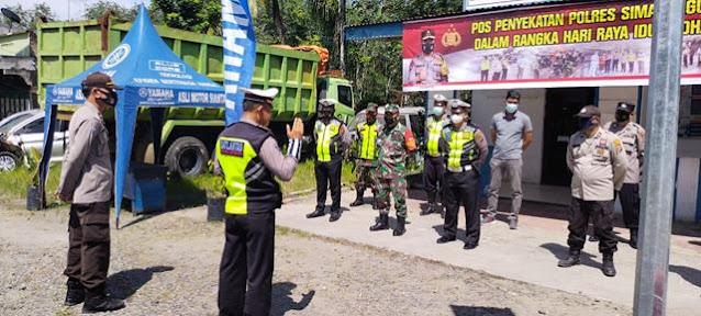 Pos Penyekatan PPKM Penyekatan Turut Serta Dihadiri Personel Jajaran Kodim 0207/Simalungun Bersama Dinas Terkait