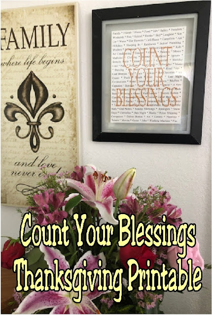 Count your blessings this Thanksgiving with this beautiful and simple Thanksgiving printable. With so many things to be thankful for, you'll be sure to be smiling with this Thanksgiving decoration on your walls. #thanksgiving #thanksgivingprintable #homedecor #thanksgivingdecoration #diypartymomblog