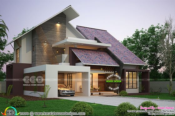Ultra modern slanting roof house plan 2450 sq-ft