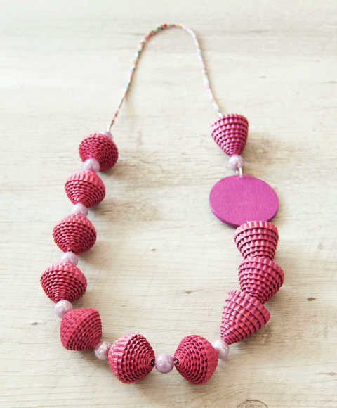 fuchsia crimped paper and ceramic bead necklace
