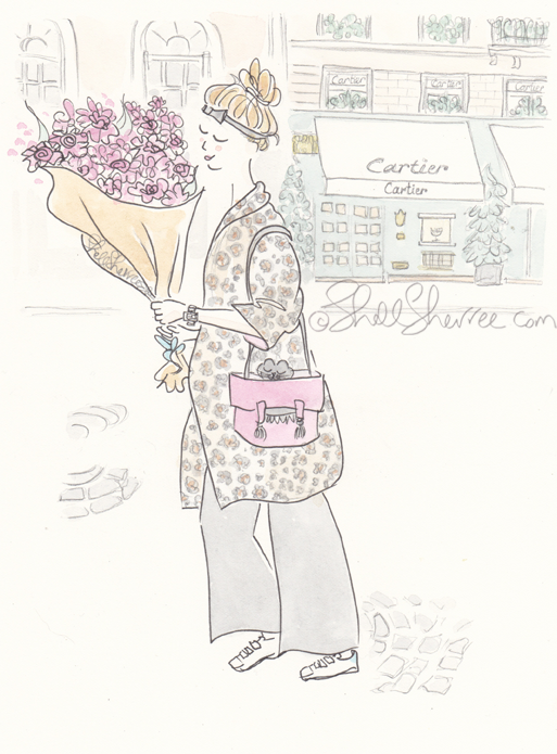 paris illustration, fashion illustration, © ShellSherree, Rosy Leopard Slouching in Paris