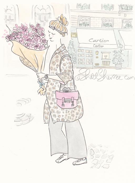 paris illustration, fashion illustration, © ShellSherree, Rosy Leopard Slouching in Paris