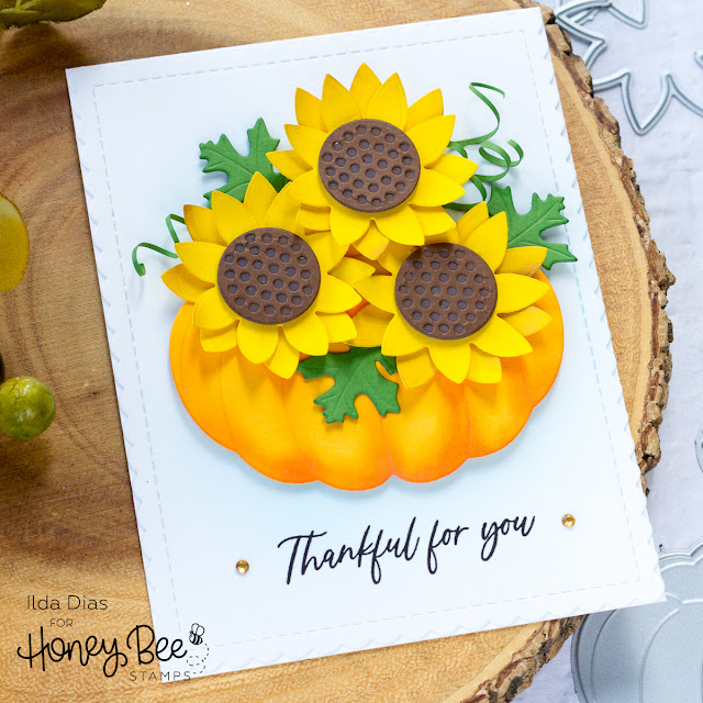 Fall Pumpkin Floral Bouquet | Honey Bee Stamps by ilovedoingallthingscrafty.com