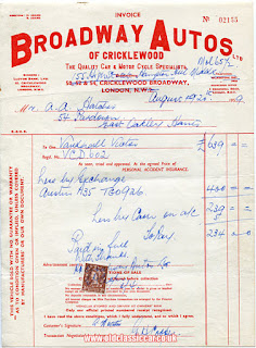 Broadway Autos Ltd invoice dated August 1959
