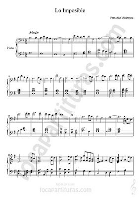 Lo Imposible Partitura de Piano Sheet Music for Pianists BSO/OST