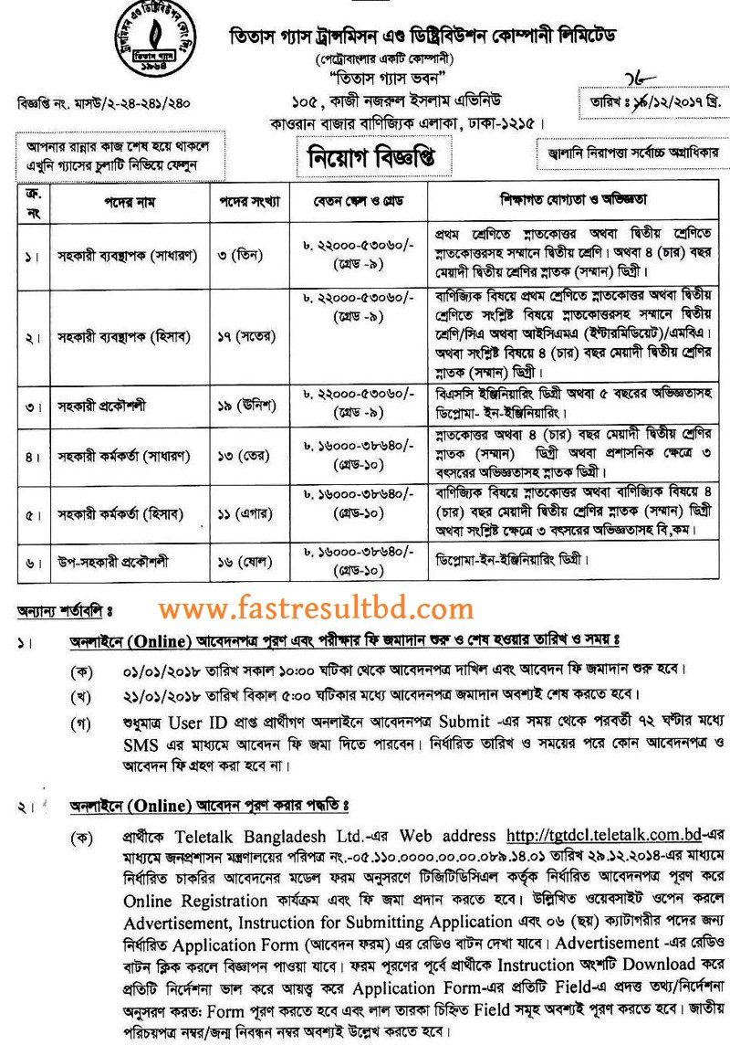Titas Gas New Job Circular 2018