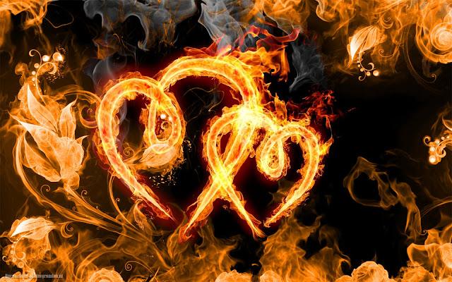 Liefdes hartjes gemaakt van vuur
