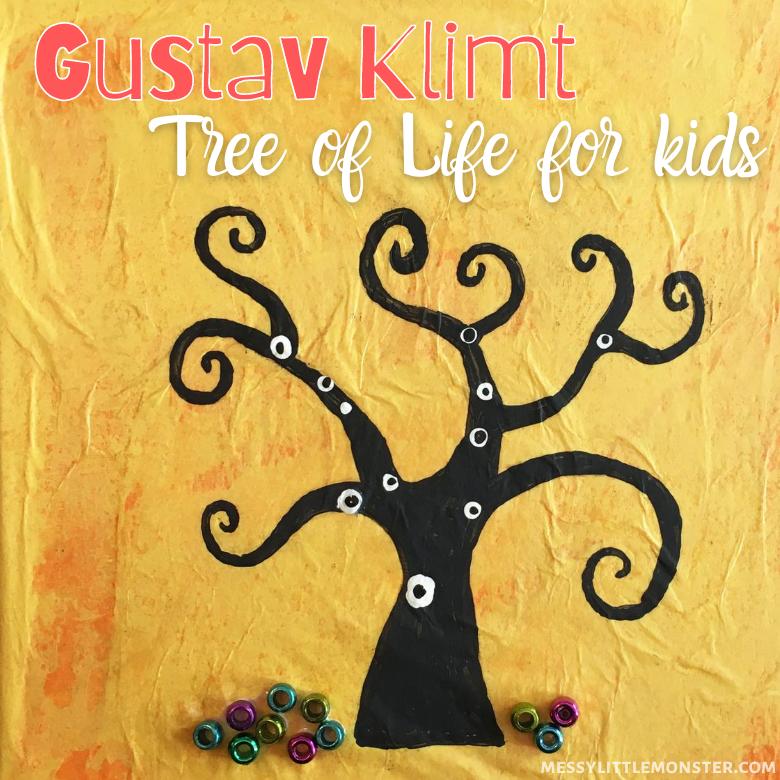 Gustav Klimt tree of life famous artists crafts for kids.