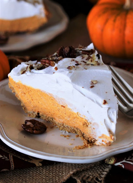Slice of No-Bake Pumpkin Cream Pie Image