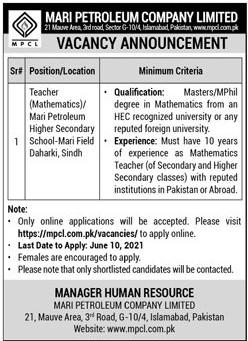 Latest Jobs in Mari Petroleum Company Limited MPCL Islamabad Jobs 2021 - Mari Petroleum Jobs 2021 Online Apply www.mpcl.com.pk