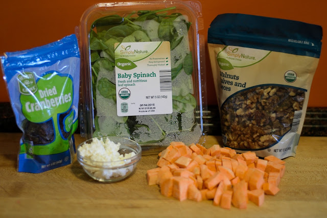 The ingredients needed to make the Sweet Potato, Spinach, and Feta Salad