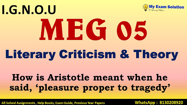 How is Aristotle meant when he said, 'pleasure proper to tragedy'