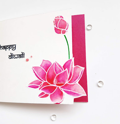 guest designing, Ranganjali stamps, Zig clean colour brush pens, One layer card, Quillish, Diwali card, Ranganjali lotus stamp card, Lotus stamp card, Water lily card, Indian card, cards by Ishani, OLC, Hindu festival